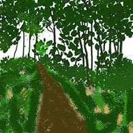 sketch of the path and trees
