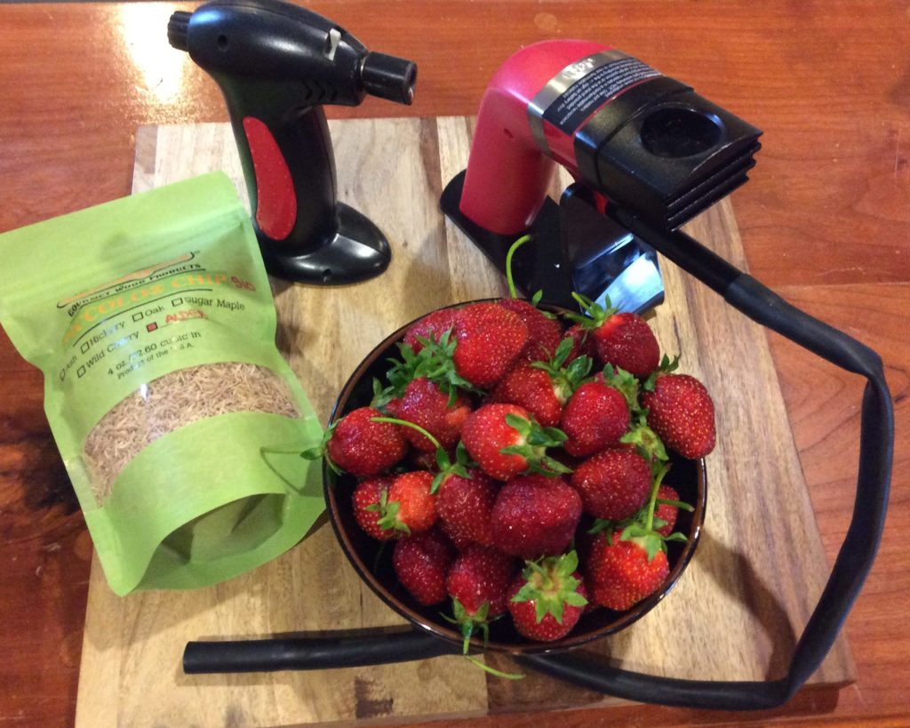 All the supplies you need to add a smokey flavor to this wonderful fruit strawberries for Smoked Strawberries