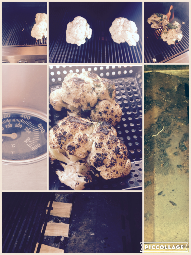 [collage of steps to roast/cook Cauliflower over wood on the LP/gas grill ]