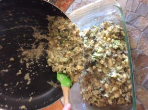 Mixing all ingredients together and putting in baking dish