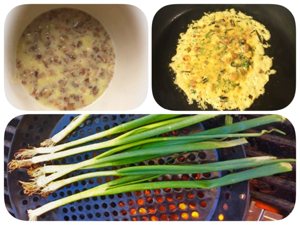 The collage photo of our spring onion pancake recipe has the batter, grilling spring onions to give a smoky flavor, and making the pancake in the skillet.