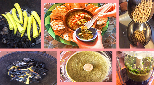 Spicy-char hummus is made by grilling/smoking the hot peppers and then add to your Hummus! Great way to keep the grill flavors when the weather turns colder! Our photo collage shows the different steps to make spicy-char hummus.