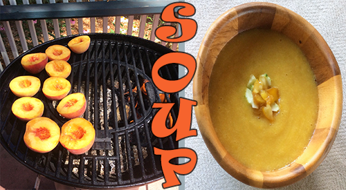 We are showing peaches on the grill for our peaches wood fired recipe along with the finished smoky peach gazpacho in a bowl.