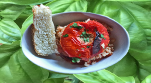 Wood ember roasted Tomato stuffed with Rice!