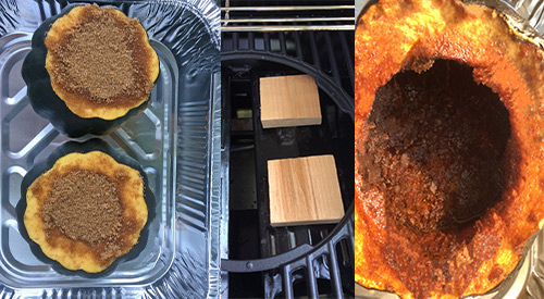 The three stages of preparing acorn squash on the grill-propped-cooking over wood-finished product!