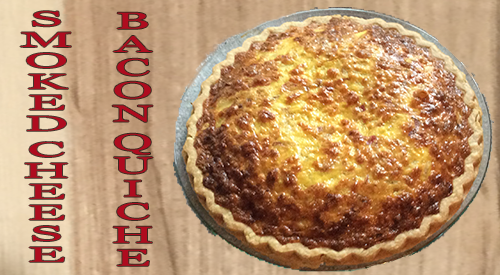 The photo of our golden brown smoked cheese & bacon quiche was prepared with our homemade smoked cheese and baked at 350 degrees for 40 minutes.