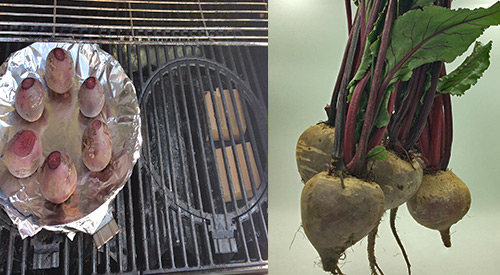 Wood-fired Smoked Beets before and in the offsetting smoking position on the gas grill with single filet wood chunks!