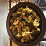 Our Nordic Ware® stovetop smoker adding flavor to our broccoli