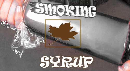 Smoke trapped in the bottle infusing the Smoked Maple Syrup Marinade