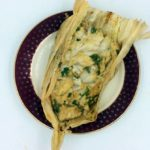 Our finished Snapper wrapped in corn husk opened to show this wonderful method of cooking fish