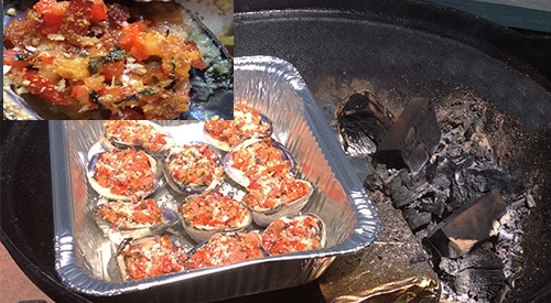 Our wood-fired clams casino on the offset grill with brick and the finished product