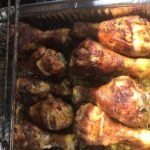 The cooking dry ribbed Chicken Drumsticks on the gas grill