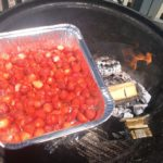 pan of strawberries on the grill with Charwood