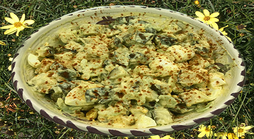 Serving bowl of Our Potato salad gets smoke infusion recipe!