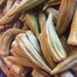 Our wood fired smoked okra ready to be diced and added to the tomato broth