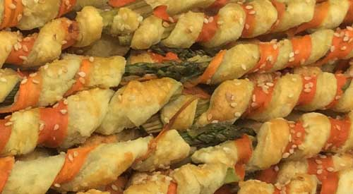 Our finished Grilled Asparagus Wrapped with a healthy Choice