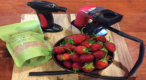 All the supplies you need to add a smokey flavor to this wonderful fruit- strawberries for Smoked Strawberries