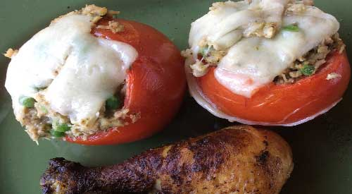 Our wood fired stuffed tomato filled with tuna salad and melted cheese over the top!