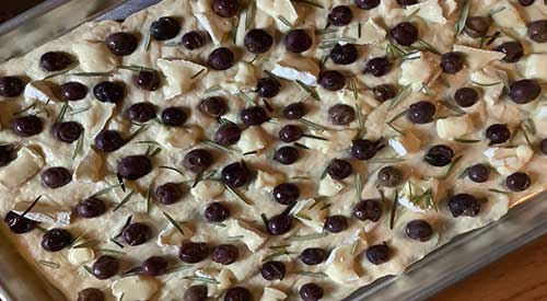 Our Delicious Smoked Grape Flatbread with Brie and a little fresh Rosemary