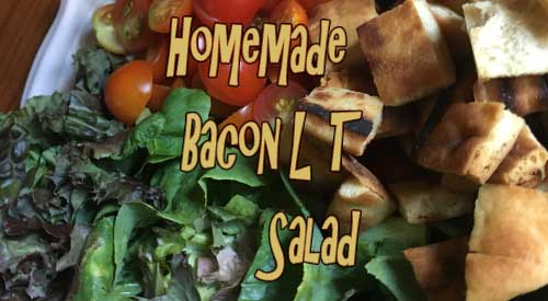 Our homemade smoked bacon, lettuce and fresh tomatoes for our smokey BLT Salad